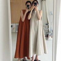 Casual Dresses [EWQ] Summer 2021 Dress Chic Loose Swing Sleeveless Mid-length Cotton Linen Long High Waist Women Runway