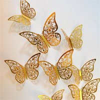 Wall Stickers 12Pcs 4D Hollow Butterfly Sticker DIY Home Decoration Wedding Party Room Decors