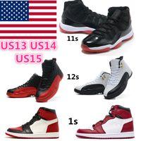 Jumpman 1S 11S 12S 농구 신발 흑요석 대학교 푸른 높은 스포츠 두려움없는 남자 여자 하이퍼 로얄 UNC 최고 품질 크기 US11 US12 US13 절반