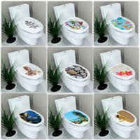 Wall Stickers 3D Printed View Toilet Sticker Decal Mural Art Decor Bathroom Decoration WC Pedestal Pan Cover Stool Commode
