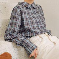 New spring Vintage plaid Shirt female Oversize Tops Women Lo...