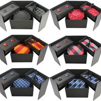 High Quality Gift Box Mens Necktie Set with Pocket Square and Cufflinks 38 Different Colors Plaid Stripe 8cm Ties Hanky