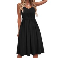 Casual Dresses Sagace For Women 2021 Summer V-neck Pure Lace-up Sling Knee-length Dress Fashion Seaside