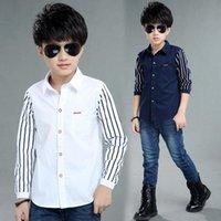 Shirts 5-10T Kids Boy Spring Long Sleeve Plaid Shirt Casual Turn-down Collar Blouses For Children Top Clothes Baby