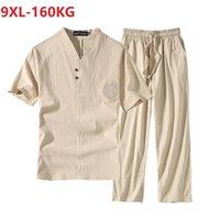 Homens de verão Pijamas estilo chinês t-shirt manga curta e calças plus size sono desgaste respirável tamanho de linho de algodão de linho