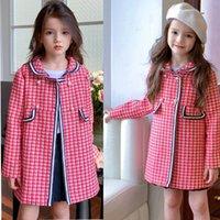 Fashion designer coats girls pink woolen coat jacket Kids Children boutique coarae flowerd ribbon clothing Baby Clothinges Outwear