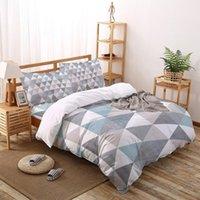 침구 세트 마름모 격자 무늬 질감 침실에 대 한 복고풍 기하학 세트 침대 홈 이불 커버 퀼트 베개 케이스