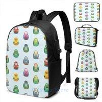 Рюкзак смешной графический печать попугая гнездование кукла шаблон USB заряд мужские школьные сумки женские сумки путешествия ноутбук