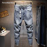 Männer Neue Ripping Casual Skinny Jeans Hosen Mode Marke Mann Streetwear Brief Gedruckt Beunruhigte Loch Gray Denim Pants 210317