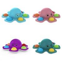 Fidget Brinquedos Spin Octopus Bolha Feliz Feliz Dedo Spinners Decompression Toy Silicon Simples Dimples Fingertop Gyro Stress Autism Autism Relief Push Popper Jogos