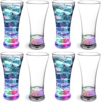 Liquid Activated LED Pilsner Glasses Light Up Beer Tumblers Glow in the dark tall cups for Party 13 oz