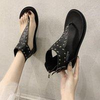 SagaCE 2020 Новая мода Женщины Сандалии Флип Шлепания Обувь Женщины Римские Сандалии Заклепки Плоские Обувь Летний Пляж Леди Кожа Y2RO #