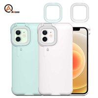 akcoo for iphone 12 Pro Max 링 라이트 플래시 케이스 LED Selfie 손전등 핸드폰 케이스 커버 아이폰 6 7 8 Plus XS XR 11 12 H1009