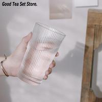 Cups & Saucers 360ML Glass Cup Horizontal Stripes Transparent Beer Whiskey Brandy Vodka Milk Coffee Mug 12oz Teacup Simple Style Teaset