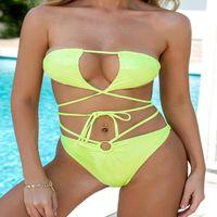 Women's Swimwear Storyever Beach Sexy Solid Color Split Swimsuit Bandage Hollow Out Feminine Bikini Set
