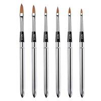 6 stücke Nail art Metallgriff Acryl UV Gel Verlängerung Builder Blütenblatt Blume Malerei Zeichnung Pinsel Maniküre Werkzeuge
