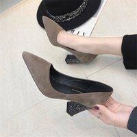 Camurewaza a souligné sur des chaussures pour femmes pompeuses à talons élevées 2021 nouveau printemps automne paillettes sauvages carrée rasa talon sexy de bling cwfd