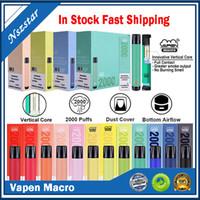 Vapen 매크로 일회용 포드 디바이스 키트 2000 퍼프 6ml 하단 공기 흐름 vape 스틱 펜 증기 바 시스템 IG XXL SHION 100 % 정품
