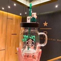 Verão New Starbucks Avental Little Bear Palha Copo de Vidro 600ml Proteção Ambiental de Alta Capacidade Caneca De Café Roaev