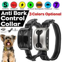 犬の襟のleashes自動アンチバックカラーipx4防水振動電気サウンドベスト人道樹皮リファレンジ可能