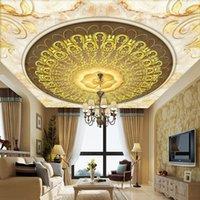 Tapeten Benutzerdefinierte 3D Wandbilder Europäischen Stil Marmor Muster Runde Kreis Tapete Für Decke Wohnzimmer EL Dekoration Vlies Papier