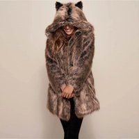 Women's Jackets 2021 Winter Style Faux Fur Clothing Overcoat Long Sleeve Hooded Thick Warm Slim Fit Jacket