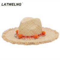 Latwelng Бренд Мода Tasse Sequins Beach Hats Женский праздник Панама Рафиа Шляпа Джаз Богемия Летняя Солнца Солнца Шляпа S1122 Q0305