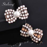 Sinleery Retro Mignon Bowknot Cubic Zircon Perle Broche Antique Or Couleur Femmes Vintage Bijoux 2021 XZ197 SSP