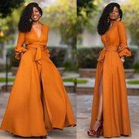 캐주얼 드레스 우아한 분할 맥시 여성 가을 깊은 V 목 긴 소매 파티 드레스 숙녀 섹시한 슬림 플러스 크기 아프리카 옷