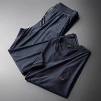 Costume d'été pour hommes pour hommes (T-shirt + pantalon) Broderie de Prestige manches courtes Sports décontractés Ensembles masculins Mode Slim Fit Man Tracksuit