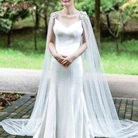 Wraps & Jackets YouLaPan G21 Bridal Shawl Wrap With Pearl Diamond Marriage Luxurious 3M Wedding Cape Cloak Lace Flower Female Jacket Coat