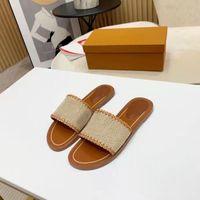 2021 Frauen Hausschuhe Top Qualität Outdoor Bankett Slide Schuhe PP Stroh Sommer Leder Sandalen Multicolor Flache Ferse Maultier Buchstaben 35-42