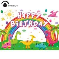Decoración de fiesta Allenjoy Feliz Cumpleaños Fondo Dinosaurios Rainbow Globos Dibujos animados Baby Shower Backdrop Po Studio Aparts Pophones