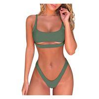 Women's Swimwear Sexy Low Waist Bikinis 2021 Women Push Up Swimsuits Solid Brazilian Bikini Ribbed Biquini Strap Swim Bathing Suits #T1G