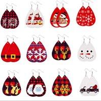 PU-Leder-Ohrringe Faux Leder Baumeln Tropfen Ohrringe für Frauen Weihnachtsbaum Bell Hirsche Tropfen Ohrring Für Weihnachtsgeschenk
