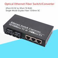 FTTH 1PCS Convertisseur de média à fibre unique 10/100 Mbps SMF Fibre Duplex 2FX SC à 3TX UTP RJ45 Welerzh 1310nm 20km