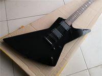 Envío gratis Irritular Explorer Guitarra Negro, Innlay de la serpiente del diapositivo de palisandro, 22 trastes, EMG Pickup, Hardware negro, Batería activa