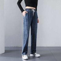 Mode Plüsch Casual Jeans Gerade Röhre Lose High Slim Damen Elastische Taille Kinder Herbst- Und Winterhosen Luxus