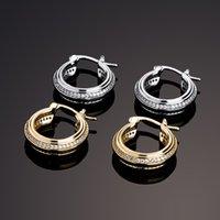 Hip Hop Jewelry Iced Out Double Row Zircon Hoop Earrings Bling Men Women Diamond Stud Gold Silver Earring