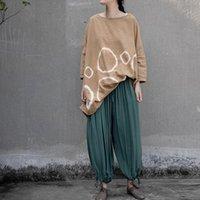 Women's Pants & Capris Johnature Women Fold Wide Leg Green Elastic Waist Trouser Cotton Vintage 2021 Summer Soft Casual Long