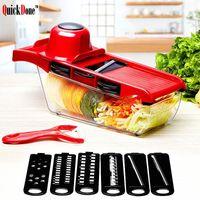Festa de Natal Mandolin Slicer Faca de Vegetal e ferramenta Lâmina de Aço Inoxidável Cozinha Frutas Manual de Batata Peeler Cenoura Shredder Dicing Machine Six Funções