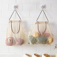 Bolso de malla de almacenamiento para colgar reutilizable para frutas de vegetales Potatoes de ajo cebollas ajo organizador de compras Organizador de baño Hwe9316