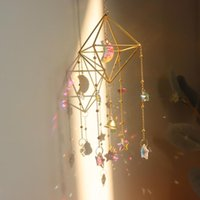 Decorativos Objetos Figuras Moon Estrela Rainbow Maker Decoração de Cristal Pendurado Prisma Ornamento Pingente Casa Jardim Vento Caranato