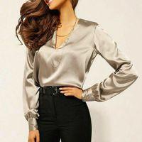 Women Fashion V-Neck Long Sleeve Silk Satin Blouse Shirt Office Ladies Tops Tee