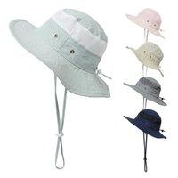 Niño sombrero niños solhat protección pesca gorras de pesca bebé malla costura niños ancho al aire libre playa cuenca pescador bebé niño niña sol sombrero