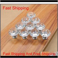Diamond Shape Design Crystal Glass Knobs Cupboard Drawer Pull Kitchen Cabinet Door Wardrobe Handles Hardware For Hom Qylhpr Rno4E Frl0G
