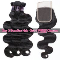2021 Buy 3 PCS Wefts Get One Free Part Closure Mink Brazillian Body Wave Peruvian Human Hair Bundles Extensions Weave for Women All Ages Nat