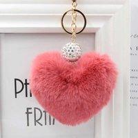 Keychains Lovely Heart Shaped Keychian Pom Poms Imitation Fur Ball Toy Doll Bag Car Key Ring Monster Keychain Crystal Jewelry Gift