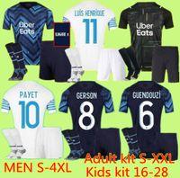 S-4XL Olympique de Marseille Fussball Jersey 2021 2022 Om MAILLT FUST PAYET THAUVIN Benedetto Trikots 20 21 22 Milist shirts Männer + Kinder