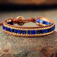 Tennis Fashion Wrap Bracelets For Women Jewelry Turquise Stones Gold Chain Woven Bracelet Bohemian Beaded Bracalet Wholesale